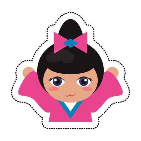 portrait kokeshi girl character vector illustration eps 10