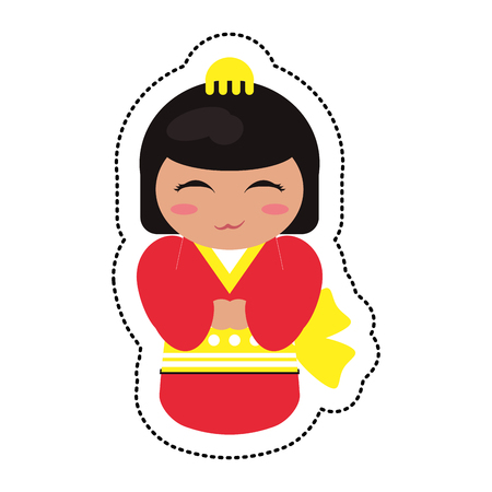 Doll japanese kokeshi geisha kimono vector illustration eps 10.
