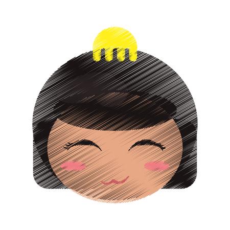 drawing cute face kokeshi vector illustration eps 10