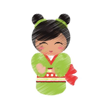 ilustration: drawing japanese doll geisha folk image vector illustration eps 10