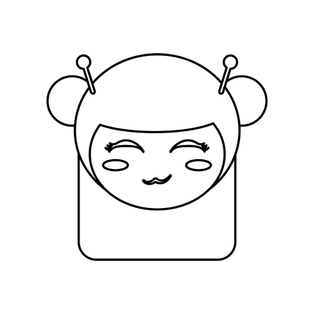 kokeshi: kokeshi head face doll outline vector illustration eps 10 vector illustration Illustration