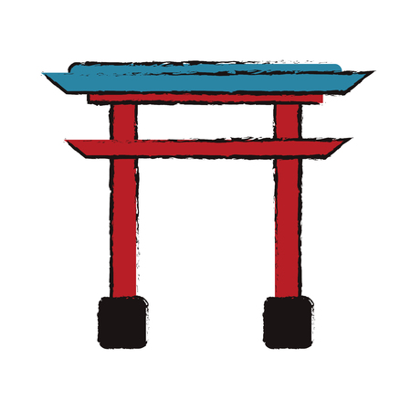 japanese gate structure traditional Illustration