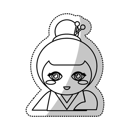 kokeshi doll souvenir outline