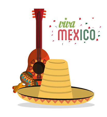 viva mexico card lettering guitar hat maracas