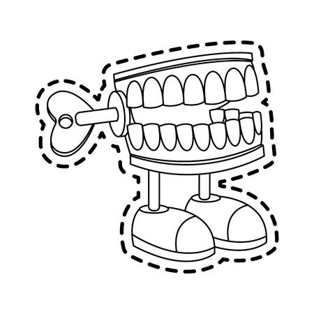 szczękanie zębami kończy się zabawka ikona obraz wektor ilustracja projekt