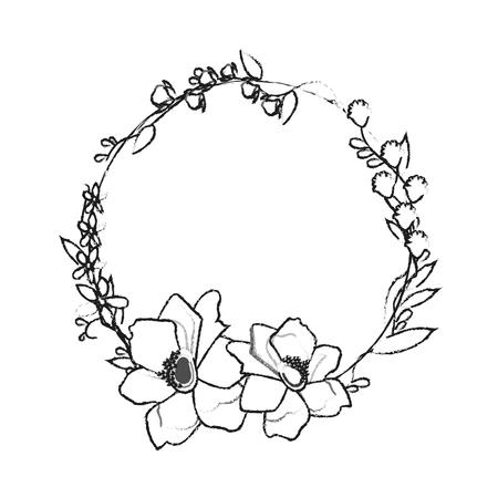 assortiment fleur délicate couronne icône image vector illustration design
