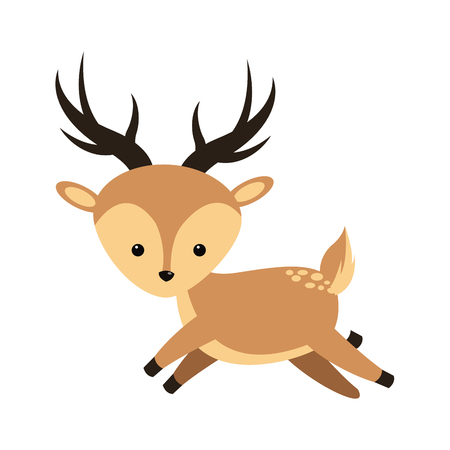 simple life: cute deer icon over white background. colorful design. vector illustration Illustration