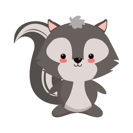 skunk: cute skunk icon over white background. colorful design. vector illustration