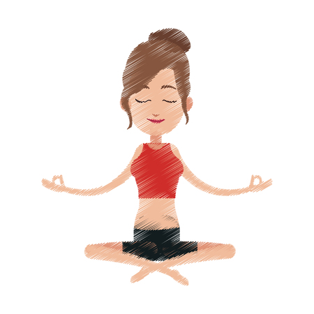 female yogi meditating icon image vector illustration design