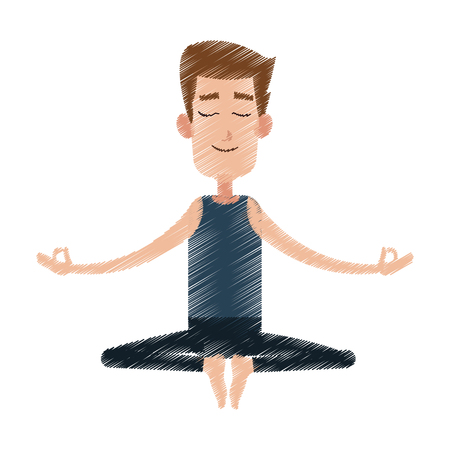 male yogi meditating icon image vector illustration design Illustration