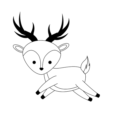 reserve: cute deer icon over white background. vector illustration