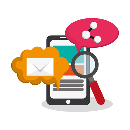 smartphone device with envelope and magnifying glass icon over white background. colorful design. vector illustration Illustration