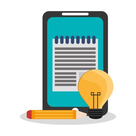 responsive design: smartphone device with bulb light and pencil icon over white background. colorful design. vector illustration Illustration