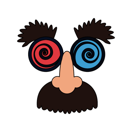 crazy googly eyes with nose and mustache toy costume icon image vector illustration design Illustration