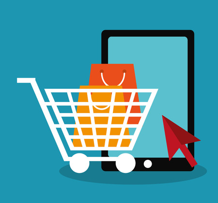 smartphone and shopping related icons over blue background.