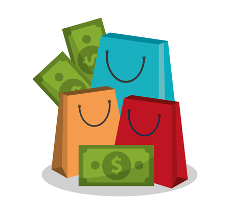 shopping bag vector: shopping bag and money bills icon over white background. colorful design. vector illustration