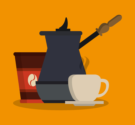 coffee items related icons over orange background. colorful design. vector illustration Illustration
