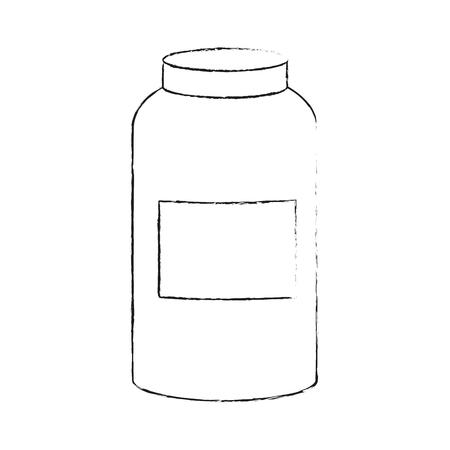 mason: blank label jar icon image vector illustration design  black sketch line