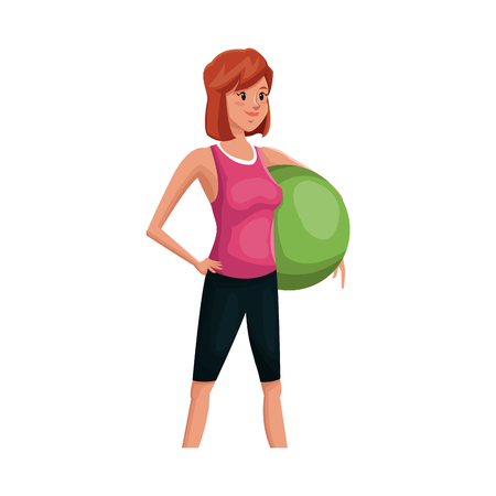 recreational: Woman exercising, cartoon icon over white background. colorful design. vector illustration