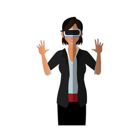 cyber woman: woman with virtual reality headset over white background. colorful design. vector illustration