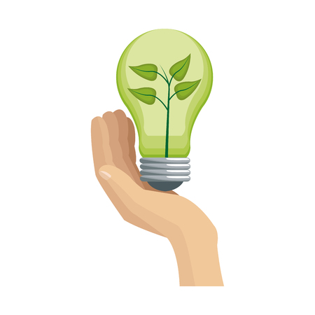 bulb light with a plant over white background. green idea concept. colorful design. vector illustration