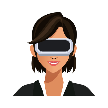 woman with virtual reality headset over white background. colorful design. vector illustration