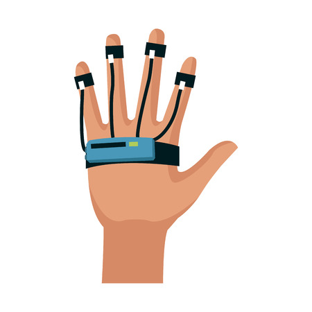hand with technology device over white background. virtual reality concept. vector illustration