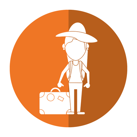 woman traveling hat and suitcase shadow