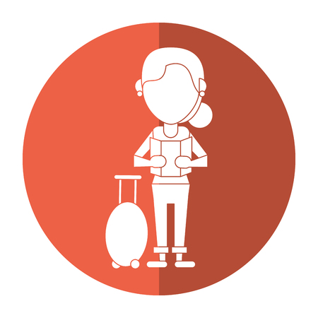 woman looking map baggage travel shadow Illustration