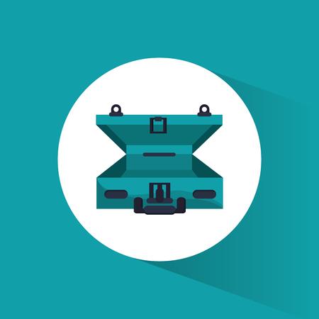 open green suitcase travel icon Illustration