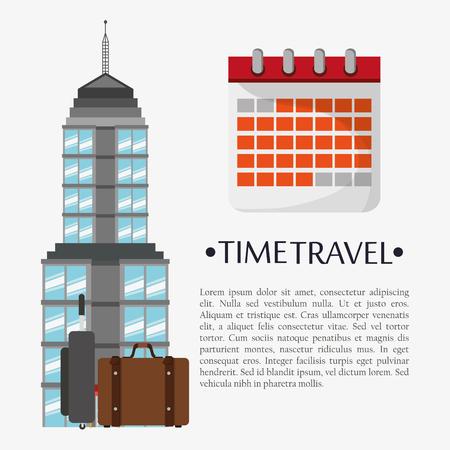 Tiempo, viaje, cartel, calendario, señal Foto de archivo - 75103376