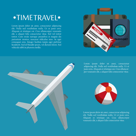 time travel flyer plane bag passport ticket plastic ball