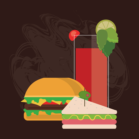 toasted: sandwich cocktail drink lunch snack icon. food and menu design, vector illustration
