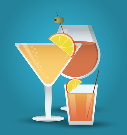 cocktail orange olive glass summer alcohol icon. drinks and menu design. Colorfull and flat illustration