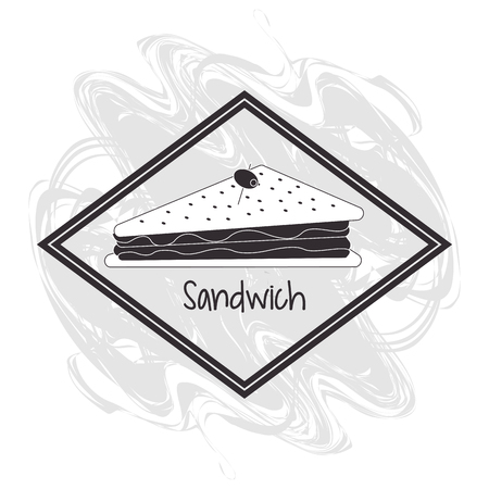 toasted: sandwich frame bread lunch snack icon. food and menu Grunge Black and White illustration