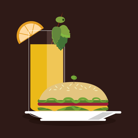 sandwich cocktail drink lunch snack icon. food and menu design. Colorfull and flat illustration