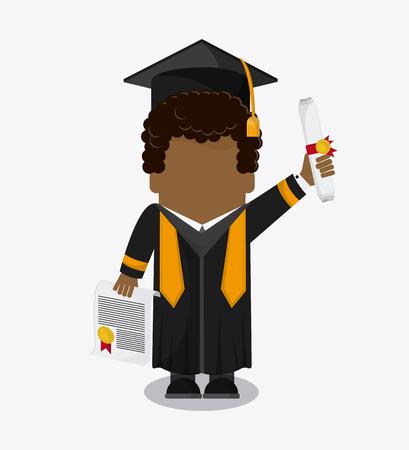 graduation cap diploma boy male suit cartoon graduate university grad icon. Colorfull and flat illustration. Vector graphic