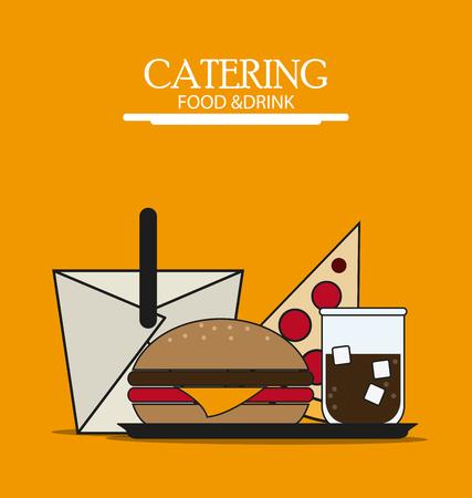box hamburger pizza soda catering service menu food icon, Vector illustration Illustration