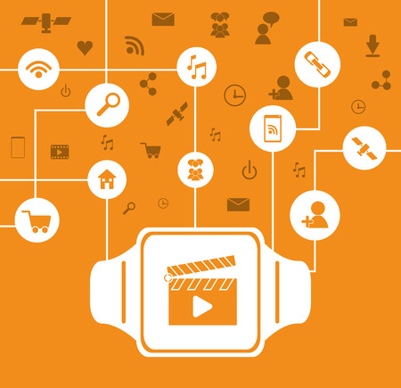 Wearable technology concept represented by watch icon. Colorfull and flat illustration. White background Illustration