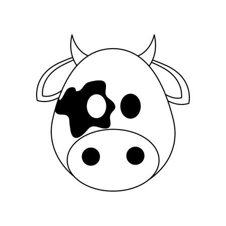 cow animal cartoon icon over white background. vector illustration