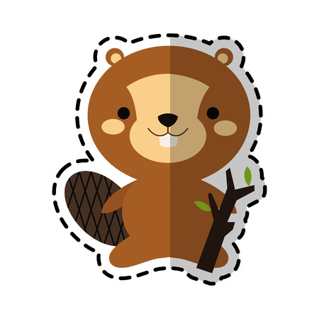 beaver animal icon image vector illustration design