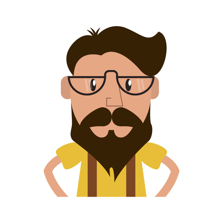 man with beard and glasses cartoon icon over white background. hipster lifestyle concept. colorful design. vector illustration Illustration