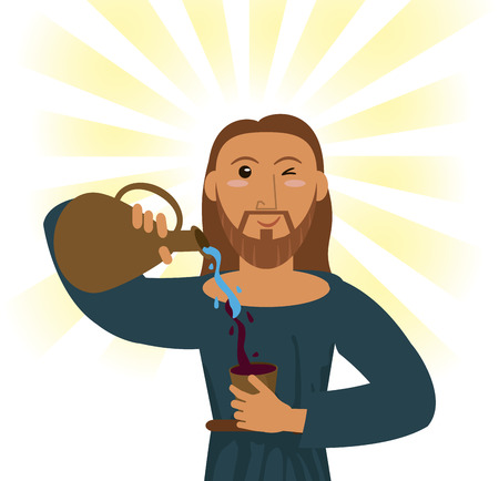 jesuschrist: jesus christ water wine religious symbol vector illustration eps 10