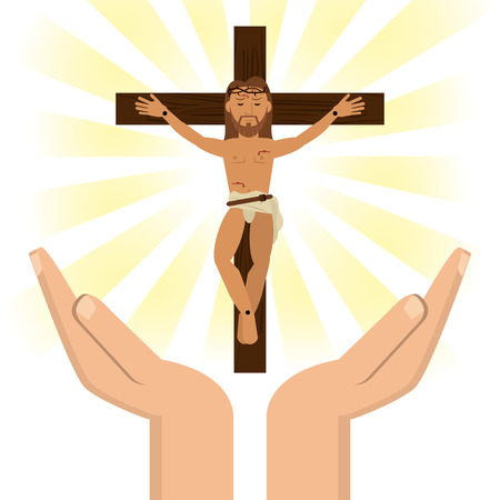 hands with jesus christ crucified vector illustration eps 10 Illustration