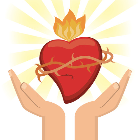 sacred heart: hand with sacred heart jesus christ image vector illustration eps 10