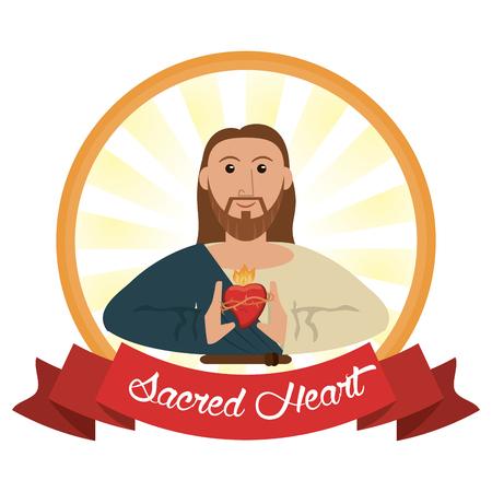 viernes santo: Jesucristo sagrado corazón religioso ilustración vectorial eps 10