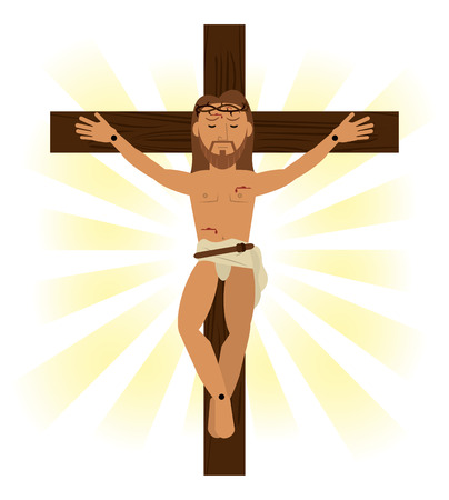 jesus christ crucified religious symbol vector illustration eps 10