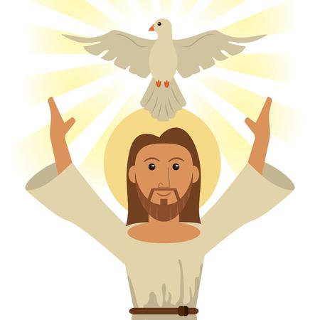 illustrazione di vettore di simbolo religioso di spirito santo di Gesù Cristo