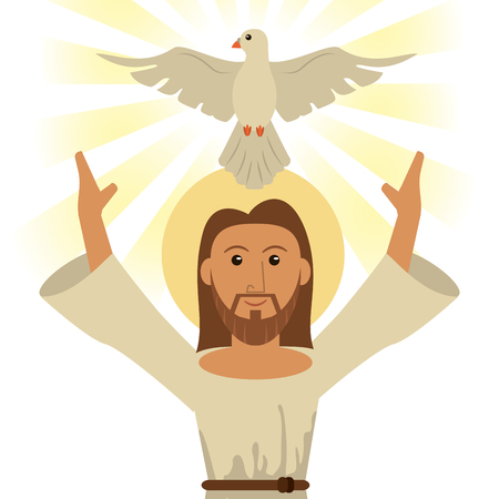 jesus christ holy spirit religious symbol vector illustration