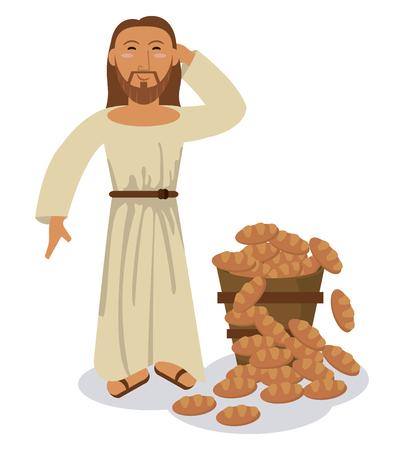 sacrifice: jesus christ multiplication bread miracle symbol vector illustration eps 10